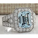 Women Fashion Aquamarine Gemstone 925 Sterling Silver Wedding Ring Jewelry New (8)