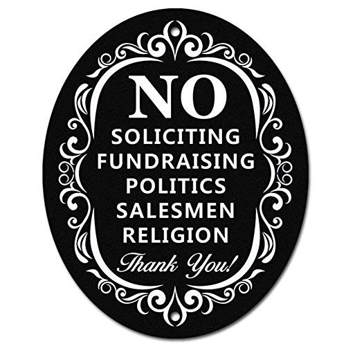 The Door House - No Soliciting Metal Sign for Home and Business   Larger Laser Cut Oval 6