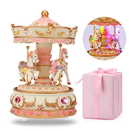 loveforyou Carousel Music Box Luxury Color Change LED Light Luminous Rotating 3-Horse Carousel Horse Clockworek Musical Box Best Birthday Gift for Kids,Girls,Friends (Castle in The Sky, Pink)