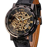 Men's Mechanical Wrist Watch with Elegant Skeleton Dial, Black