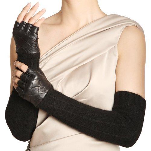 (WARMEN Women Opera Long Leather&Wool Winter Warm Half Finger Fingerless Driving Gloves (M, Brown))