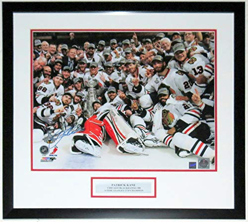 Patrick Kane Signed Blackhawks Stanley Cup 16x20 Photo - Frameworth Sports COA Authenticated - Professionally Framed & 3-Time Champion Plate