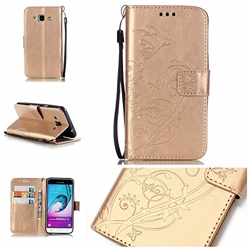 JIALUN-Personality teléfono shell SAMSUNG Galaxy J3 J310 cubierta de la caja de color sólido, caja de la cartera de cuero de la PU superior caja de grabación en relieve magnética para SAMSUNG J3 J310  Gold