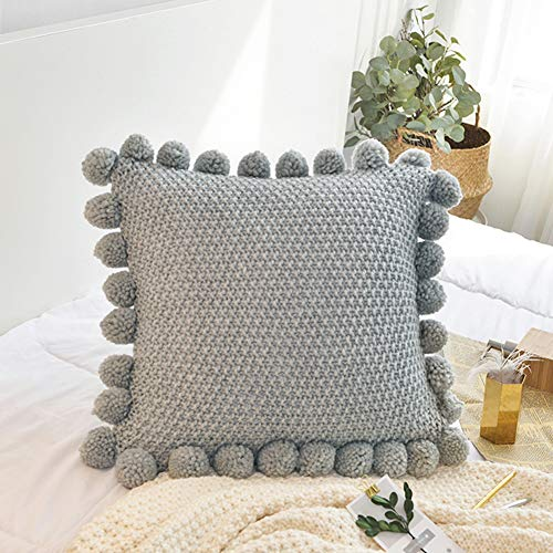 - LakeMono Knitted Throw Cushion Covers Decorative Stretchable Pillow Case with Pompoms for Living Room/Sofa/Couch (Jade Grey)