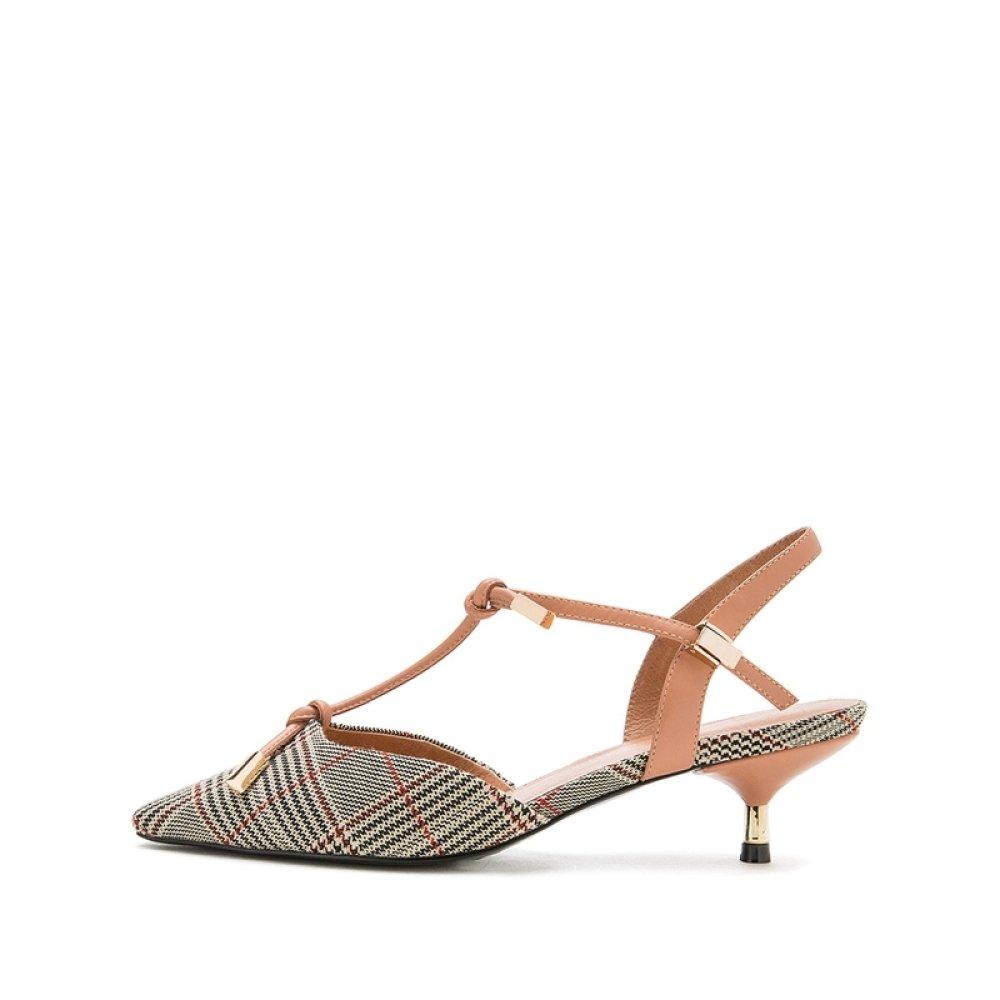 DHG Sommer Süße Sandalen, Modische Damen Hausschuhe, Einfarbig Casual Flache Sandalen, Niedrig-Heel Einfarbig Hausschuhe, ZehenSandale, High Heels,Aprikose,35 - bb143e