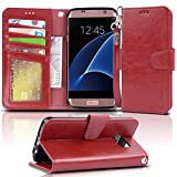 Galaxy s7 edge Case, Arae [Wrist Strap] Flip Folio [Kickstand Feature] PU leather wallet case with ID&Credit Card Pockets For Samsung Galaxy S7 edge (red)