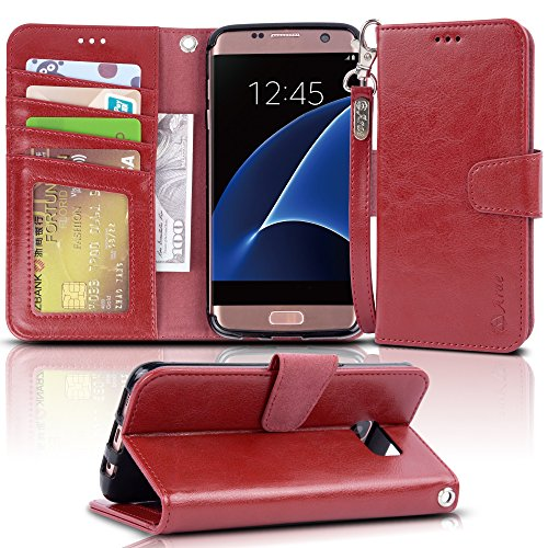 Galaxy s7 edge Case, Arae [Wrist Strap] Flip Folio [Kickstand Feature] PU leather wallet case with ID&Credit Card Pockets For Samsung Galaxy S7 edge (red) by Arae