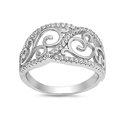 .925 Sterling Silver Scroll Inspired Cubic Zirconia Statement Ring ()