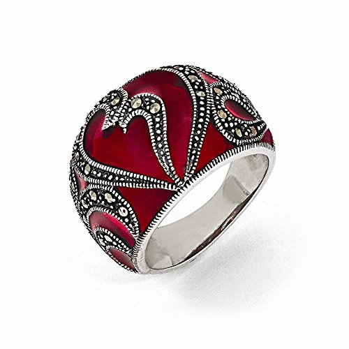 Sterling Silver Marcasite and Red Epoxy Ring - Size 8