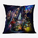 17.3 X 17.3 inches Blue Avengers Superheroes Decorative Pillowcase, Blue Villain Thanos Throw Pillow Cover Ironman Hulk Cushion Cover Spiderman Thor Movie Character Square Plain Woven, Polyester