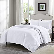 Comfort Spaces - Kienna Quilt Mini Set - 2 Piece - White- Stitched Quilt Pattern - Twin/Twin XL size, includes 1 Quilt, 1 Sham
