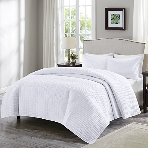 Comfort Spaces – Kienna Quilt Mini Set - 3 Piece – White – Stitched Quilt Pattern – Full/Queen size, includes 1 Quilt, 2 Shams (White Quilt Queen)