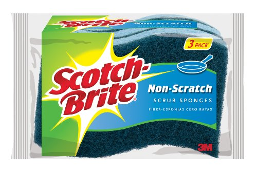 Scotch-Brite Non-Scratch Scrub Sponge, Great For Nonstick Cookware, 3-Sponges/Pk, 8-Packs (24 Sponges - Out Glasses Of Scratches