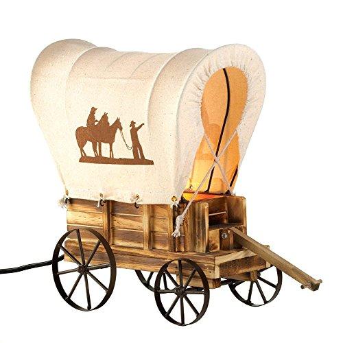 MyEasyShopping Western Wagon Table Lamp, 1-Western Wagon Table Lamp, Wagon Western Lamp Table Covered Vintage Light Cowboy Wheel Wooden Wood Saddle Horse Night Decor Stagecoach Cowboys - Western Lamp Saddle
