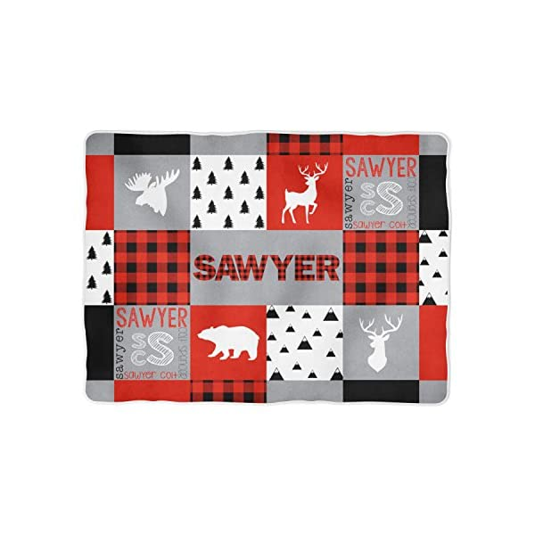 Buffalo Plaid Personalized Baby Blanket – Woodland – Deer – Bear – Moose (30×40) Gray