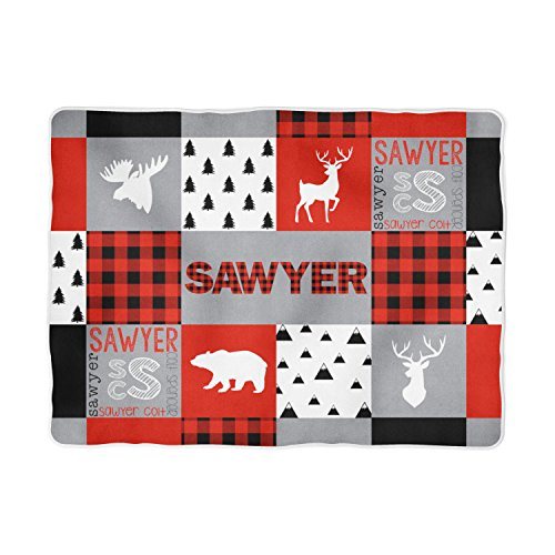 Buffalo Plaid Personalized Baby Blanket - Woodland - Deer - Bear - Moose (50x60) ()