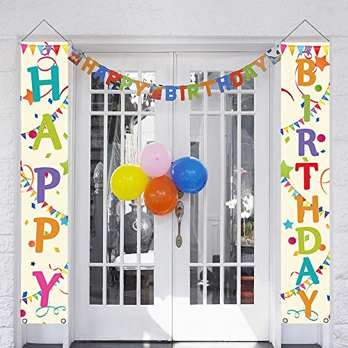 Happy Birthday Paty (partyGO Colorful Happy Birthday Porch Sign, Banner Decorations for Colorful Birthday Party)