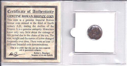 - ANCIENT ROMAN BRONZE COIN ,1500 years old With COA by Ancient Coin House