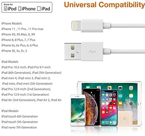 iPhone Charger,5 Pack (10FT) MBYY MFi Certified Charger Lightning to USB Cable Compatible iPhone 11 Pro/11/XS MAX/XR/8/7/6s/6/plus,iPad Pro/Air/Mini,iPod Touch Original Certified-White