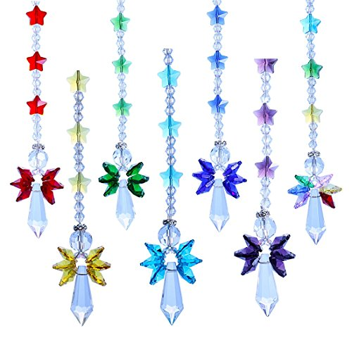 Crystalsuncatcher Crystal Glass Guardian Angel Rainbow Maker Collection Suncather,Set of 7 -