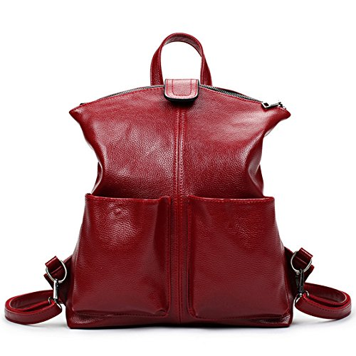 (JVP 1014-B) estilo japonés mochila de moda negro impermeable de cuero de LA PU 3way bolso de hombro bolso de las señoras mochila bolso de escuela ligero popular escuela suburbana Vino Tinto