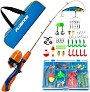 PLUSINNO Kids Fishing Pole,Portable Telescopic Fishing Rod and Reel Full Kits, Spincast Youth Fishing Pole Fis