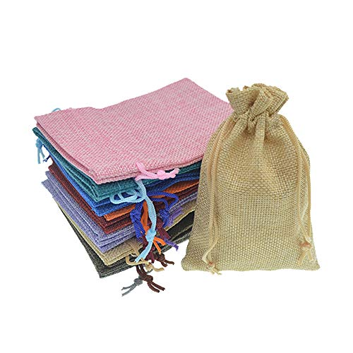 Bezall 20pcs Drawstring Burlap Jute Sacks Jewelry Candy Pouch Christmas Wedding Party Favor Gift Bags (Mixed Color, 2.7 x 3.5)