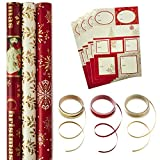 Hallmark Reversible Christmas Wrapping Paper Set with Ribbon and Gift Tag Stickers (Traditional Red and Gold, 3 Rolls of Wrapping Paper and Ribbon)