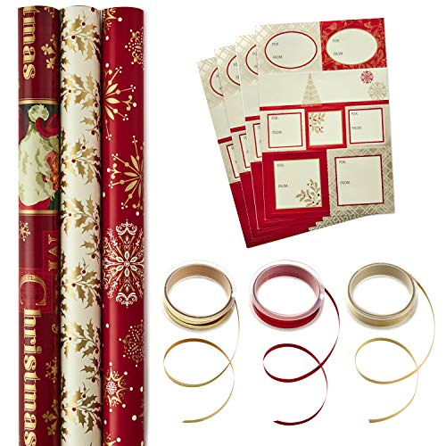 Hallmark Reversible Christmas Wrapping Paper Set with Ribbon and Gift Tag Stickers (Traditional Red and Gold, 3 Rolls of Wrapping Paper and Ribbon) (Clearance Christmas Gifts)