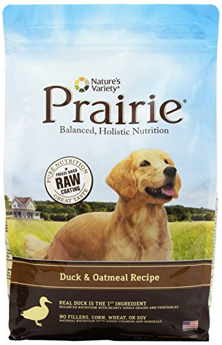 NATURE'S VARIETY 699124 4-Pack Prairie Kibble Duck/Oatmeal Recipe for Dog, 4.5-Pound