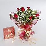 Ramo de 6 rosas rojas naturales y bombones FLORES FRESCAS-ENVIO EN 24 HORAS