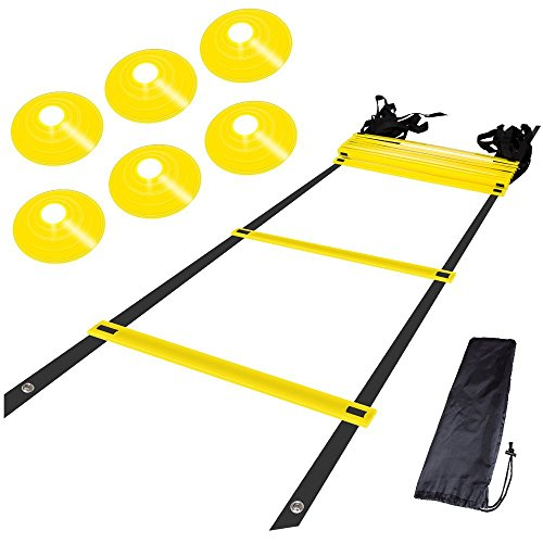 Step Ladder Training - AGILITY LADDER and CONES. Quality training equipment to improve Soccer, Football & Sports Skills. Easy to use, carry & store. Set of 15ft Speed Ladder, 10 Markers, 4 Pegs, and easy carry Bag