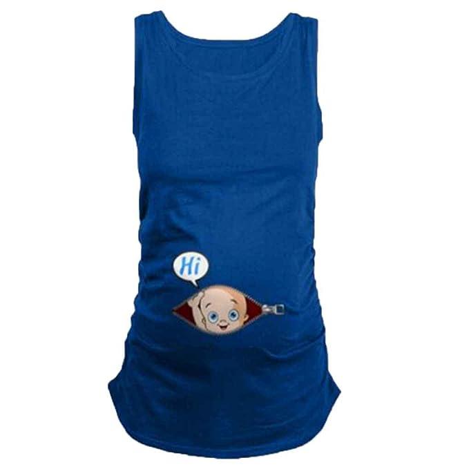 Mengonee Camisetas de Mujeres Embarazadas Camisetas de Maternidad Ropa de enfermería Chaleco Superior Embarazo Casual Camisetas