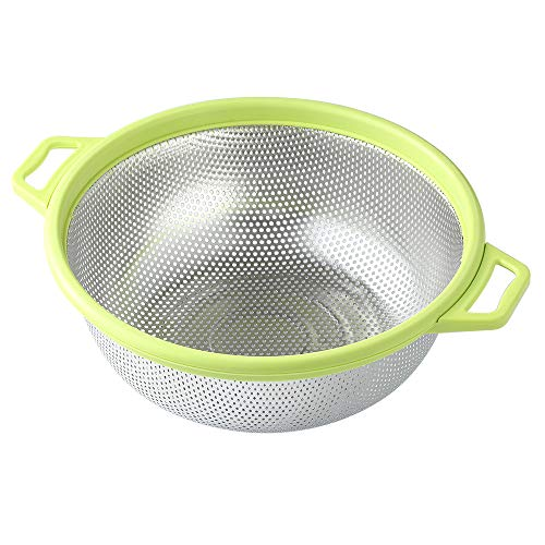 "Stainless Steel Colander With Handle and Legs, Large Metal Green Strainer for Pasta, Spaghetti, Berry, Veggies, Fruits, Noodles, Salads, 5-quart 10.5"" Kitchen Food Mesh Colander, Dishwasher Safe"