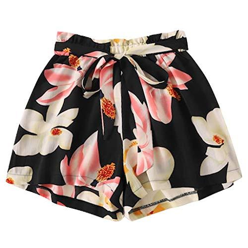 Jumaocio Shorts Womens Summer Plant Elastic High Waisted Casual Beach Shorts Fashion Plus Size Printed Bandage Shorts Pants Black Black Distressed Italian Leather Jacket