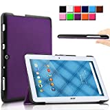 Infiland Acer Iconia One 10 B3-A10 case, Ultra Slim Tri-Fold Shell Case Cover for Acer Iconia One 10 B3-A10 10.1-Inch Tablet Only (Acer Iconia One 10 B3-A10, Purple)