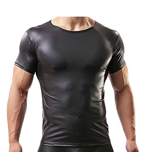 Black Leather Shirt - CHICTRY Men's Leather Short Sleeve Sexy Tight T-Shirt Clubwear Top Black X-Large
