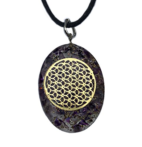 Orgone Pendant Flower of Life EMF Protection- Powerful Cleansing Amethyst Energy Generator with Black Cord - Negative Energy Generator