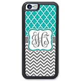 iPhone 6 TOUGH Case, iPhone 6S TOUGH Case Teal Lattice & Grey Chevrons Monogram - Monogrammed Personalized - Hard Rubber Case (4.7 inch) by Simply Customized