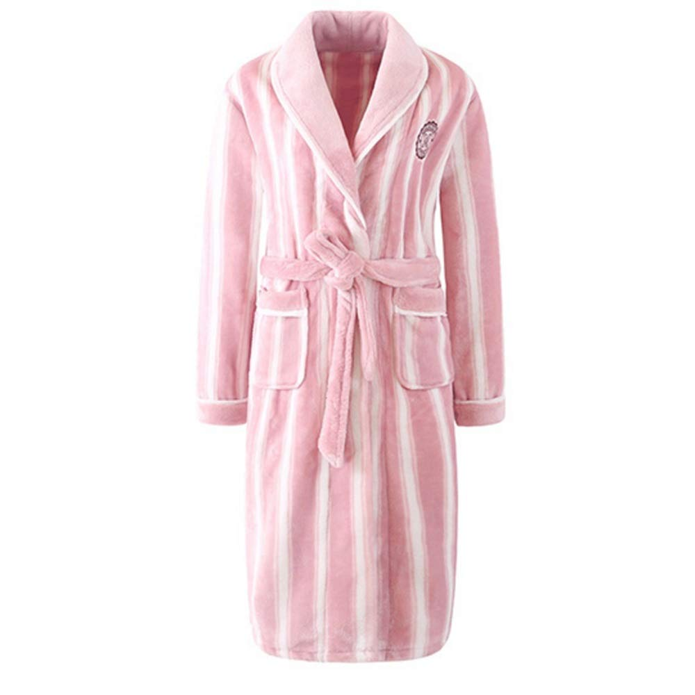 NAN Liang Mens Luxury Nightgown Hooded Bath Robe Women Striped Dressing Large Size Wraps Gown (color   Pink, Size   XL)