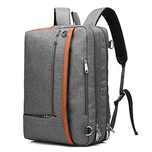 CoolBELL Convertible Backpack Shoulder Bag Messenger Bag Laptop Case Business Briefcase Leisure Handbag Multi-Functional Travel Rucksack Fits 17.3 Inch Laptop for Men/Women/Travel (New Grey) ()
