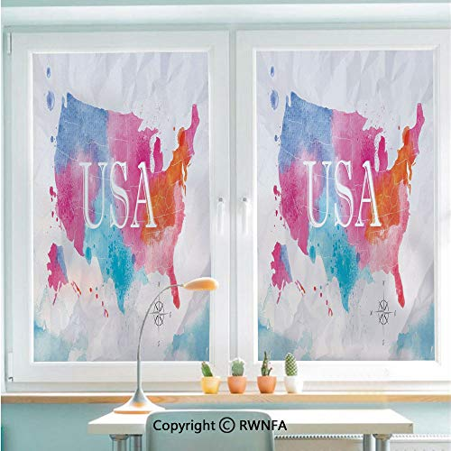 "RWNFA No Glue Static Cling Glass Sticker Watercolor Style American Map with Paintbrush Hazy Tone Effects Geography Artwork Decorative,22.8"" x 35.4"" for Home&Office,Multicolor"