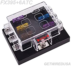 getwiredusa 6 way atc fuse panel fuse box fuse holder with fuses 1 in 6 out. Black Bedroom Furniture Sets. Home Design Ideas