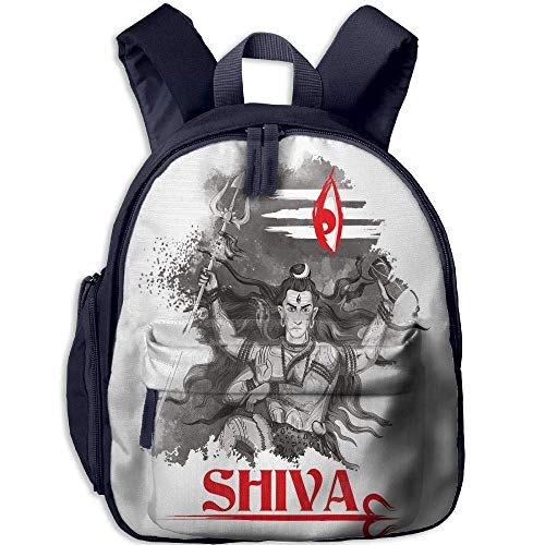 ookbag with Pocket Ethnic Religious Figure of Ethnic Religion Holding Trident Red Eye On Stripes Artistic Decorative Grey Red White ()