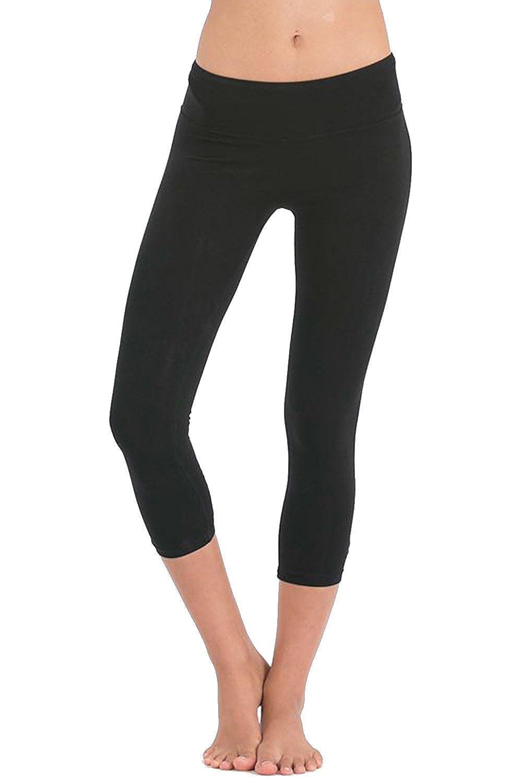 c657cc588a INTOUCH Women's High Waist Organic Cotton Spandex Capri Yoga Leggings at  Amazon Women's Clothing store: