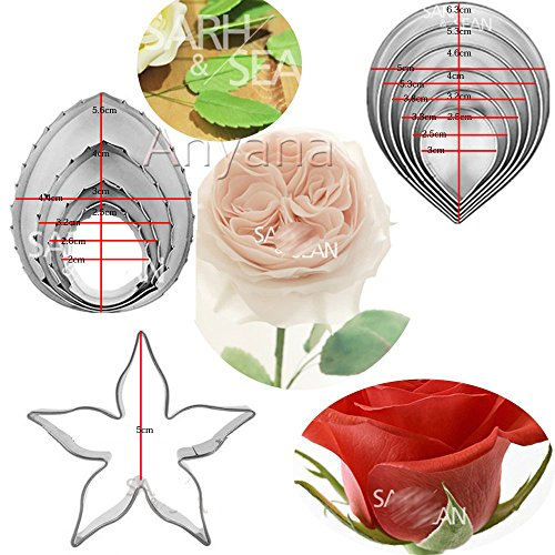 Anyana calyx rose flower cutters set of 11pcs gum paste Leaf Cutter Set sugar paste Petal Cookie Cutter Decoration Mold Fondant Sugarcraft Flower Making Tool for Wedding,Birthday ()