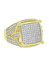 Mens Sterling Silver Ring Gold Finish Simulated Diamonds Stylish Pave Set