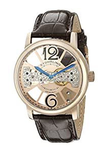 """Stuhrling Original Men's 785.03 """"Winchester"""" Rose-Tone Stainless Steel and Leather Mechanical Watch"""