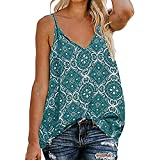 Toponly Tank Tops for Women Casual Sling V Neck Camisole Strap Print Down Front Strappy Sleeveless Tee For Blouse