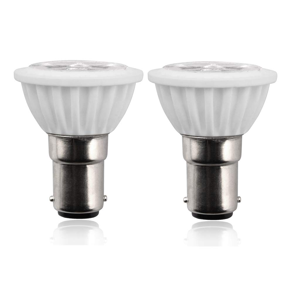 Aluxcia ALR12 BA15D LED Elevator Light - 6435/FR 12V BA15D Frosted Light Bulb 30W Halogen Replacement ALR12 Flood Light for RV Camper Trailer Motorhome Boat Lighting, Daylight 6000K, 2-Pack Aluxcia LED Co. Ltd